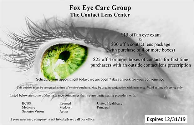 Fox Eye Care Group Coupon 123119